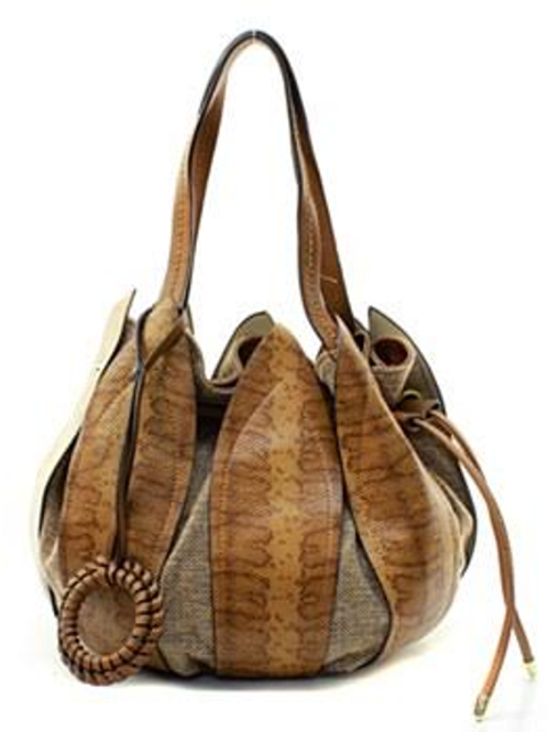 Chic Camel Leather Petal Drawstring Bucket Bag by Fiore