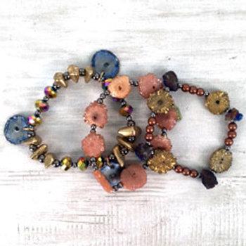 Nebula 3-Strand Stretch Bracelet Set by Treska