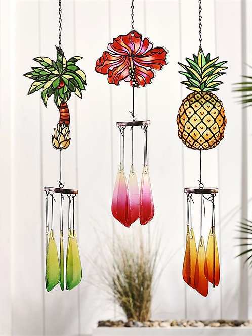 Let's Flamingle Stained Glass Tropical Icon Design Windchime