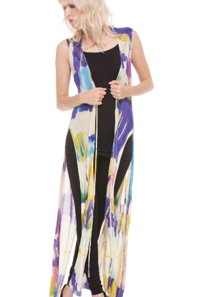 Exotic Abstract Print Hand-Painted Duster/Vest by Adore