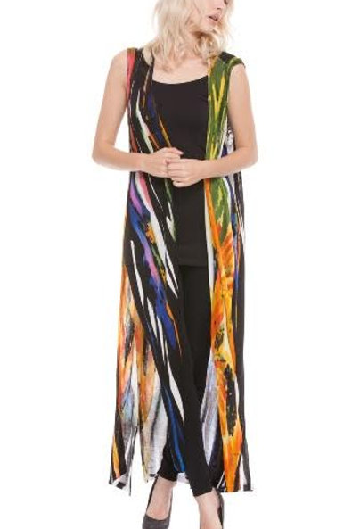 Long Hand-Painted Multi-Color Duster/Vest by Adore
