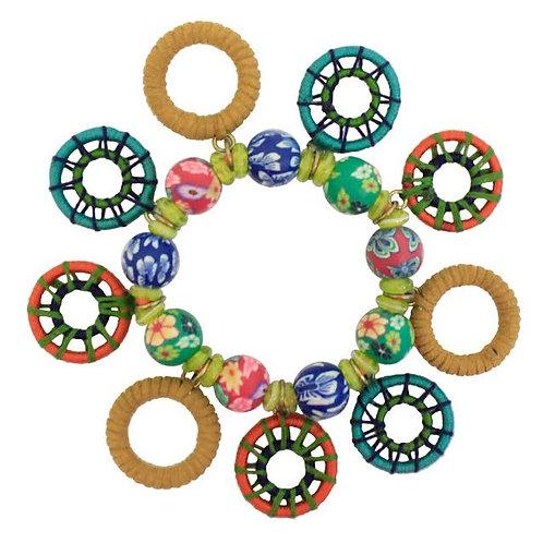 Festival Collection Beaded Wheel Fobs Bracelet by Treska