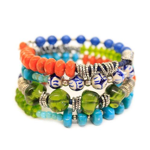 Festival Collection Beaded Coil Bracelet by Treska