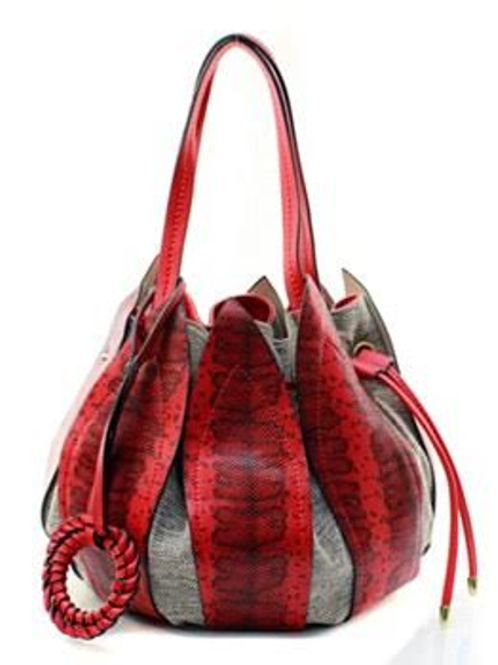 Chic Red Leather Petal Drawstring Bucket Bag by Fiore