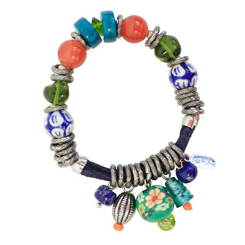 Festival Collection Beaded Bracelet With Fobs by Treska