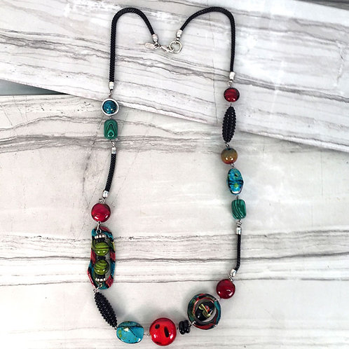 Gallery Collection Linked Bead Long Necklace by Treska