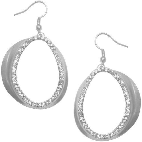 """Karine Sultan """"Chloe"""" Silver Pave Crystal Drop Earrings"""