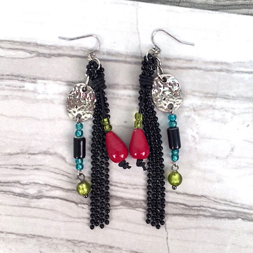 Gallery Collection Bead & Chain Dangles Earrings by Treska