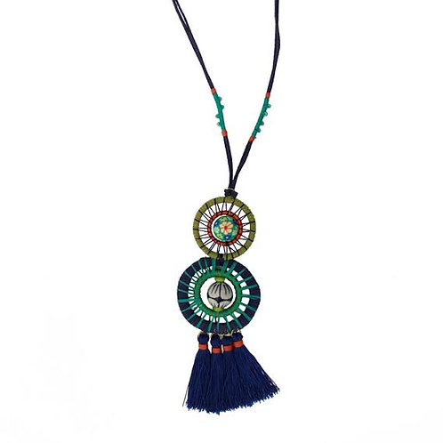 Festival Collection Wrapped Wheels Pendant Necklace by Treska
