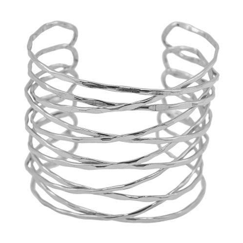 Spun Silver Wire Adjustable Cuff Statement Bracelet by Karine Sultan