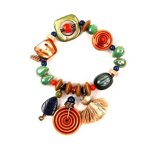 Treska Playa Beaded Bracelet With Fobs