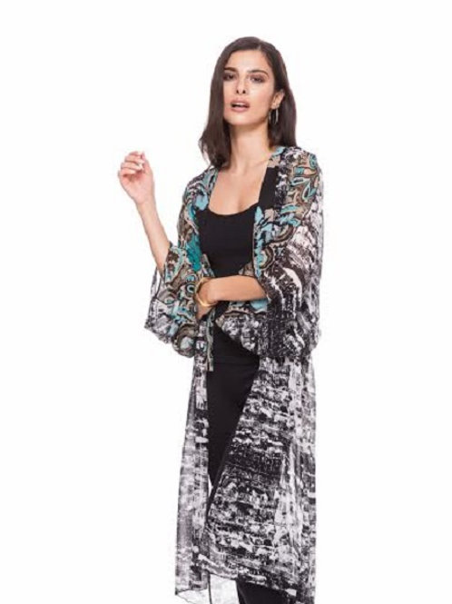 Chic Printed Chiffon Sleeve Duster by Adore