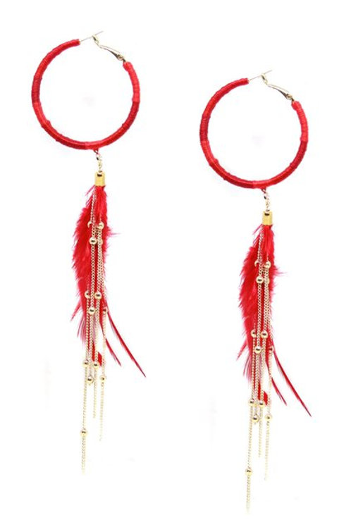 Freedom Rings Feather Earrings in Red/Gold by Ettika