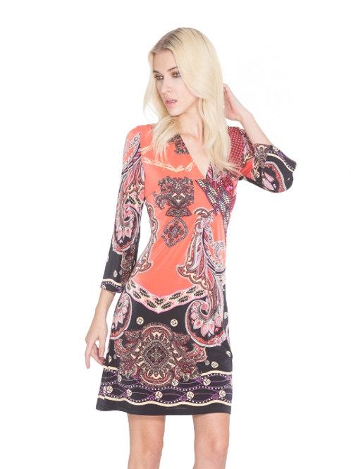 Adore Boho Style Exotic Print 3/4 Sleeve Tunic