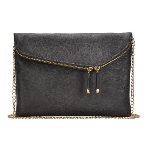Miztique Charcoal Double Zip Front Crossbody Bag