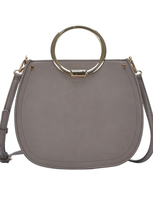 Miztique Double Hoop Handle Fawn Gray Shoulder Bag/Satchel