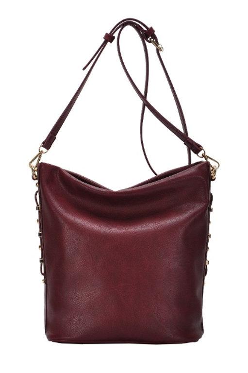 factory outlet 2018 shoes prevalent Wine Miztique Goldtone Bar Embellished Hobo/Bucket Shoulder Bag