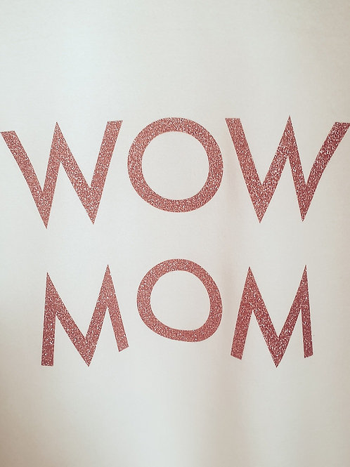 Bluza WoW MoM® alb cu glitter roz