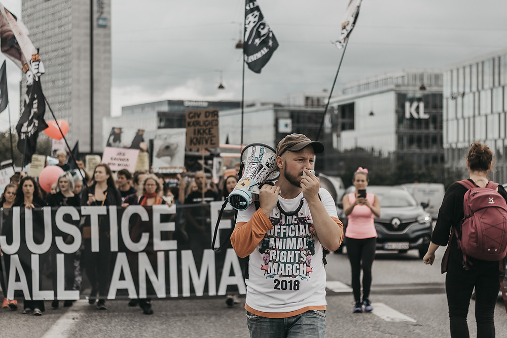 A Protester Makes a Chant at Animal Rights March