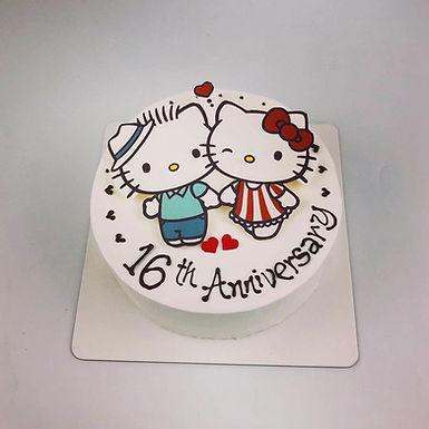 情侶 Hello Kitty 數碼打印平面Cream Cake