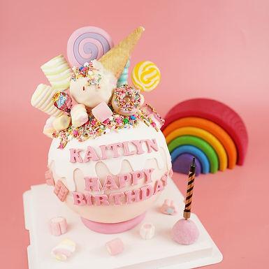 粉色雪糕糖果球 扑爆蛋糕