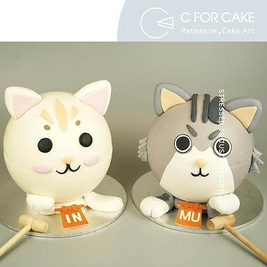 白貓 灰貓 招財貓 扑爆蛋糕