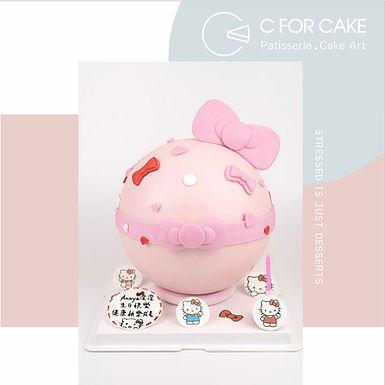 Hello Kitty主題扑爆蛋糕 配小糖牌裝飾