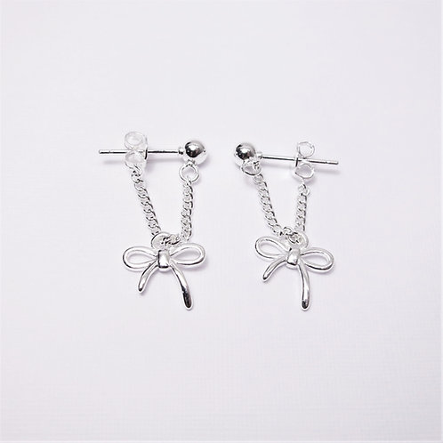 [Sterling Silver] Klara Ribbon Chain Studs