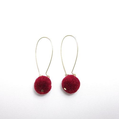 Faye Wine Red Pom Drops