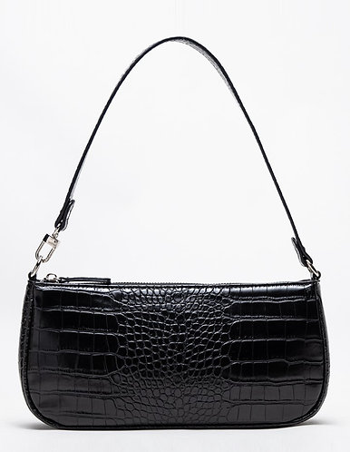 Agatha Vintage Shoulder Bag (Black Croc-Effect)