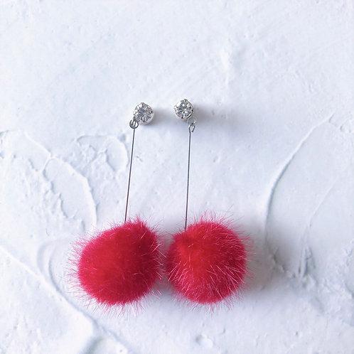 Blair Fluffy Red Poms