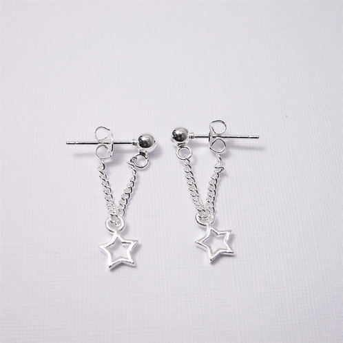 [Sterling Silver] Atlair Star Chain Studs