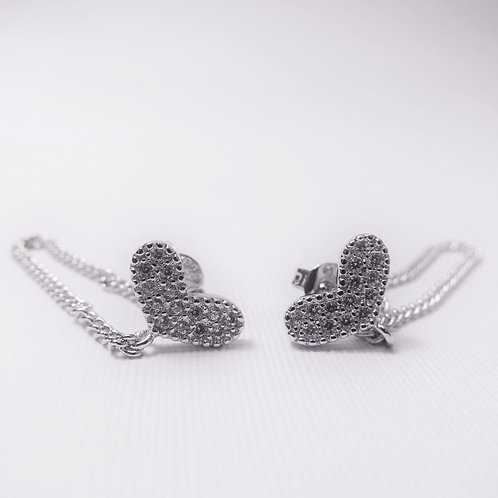 [Sterling Silver] Layla Heart Chain Studs