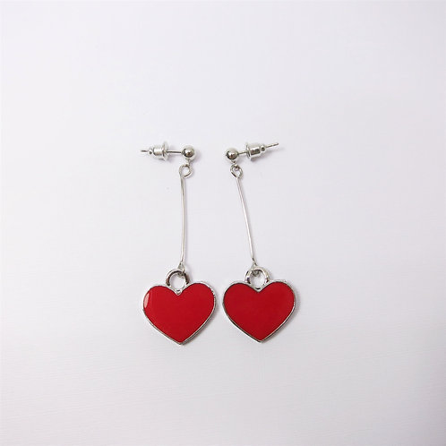 Quella Red Enamel Heart Earrings
