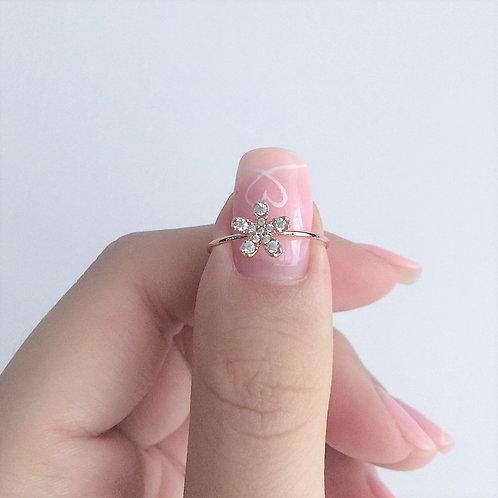 Single Daisy Rose Gold Ring (adjustable)