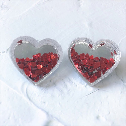 Mae Heart Glitter Studs