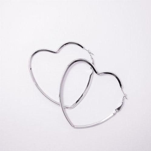 Bella Silver Heart Hoops