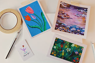 three oil pastel paintings