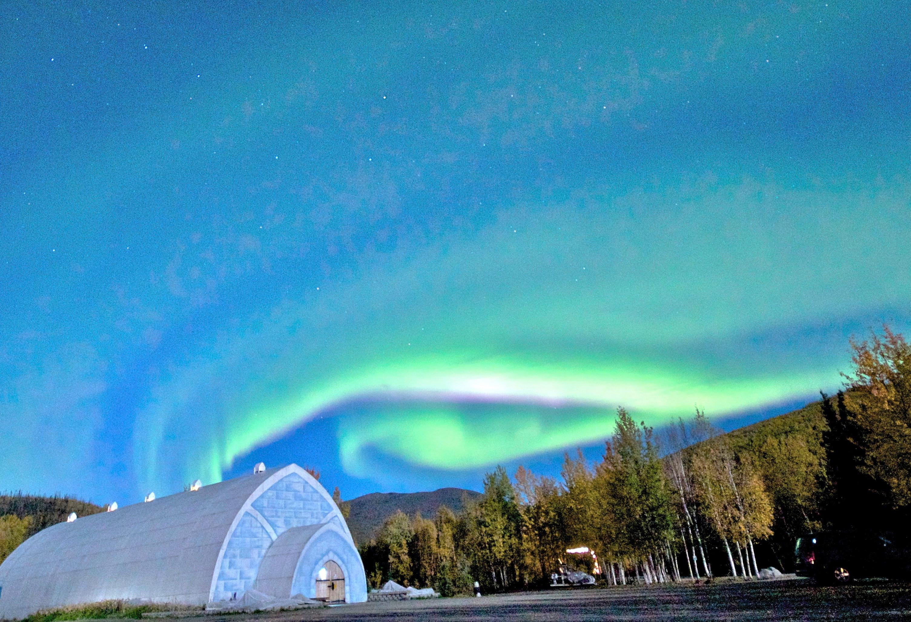 Autumn Aurora over Aurora Ice Museum