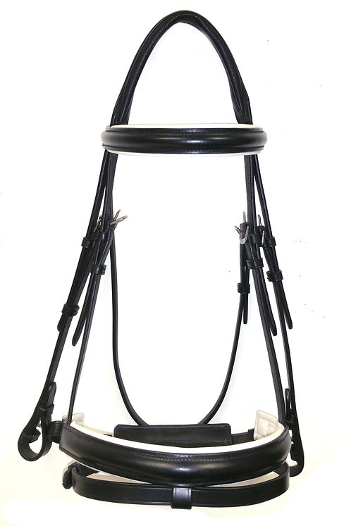 Ascot Comfort Dressage Bridle White Lined