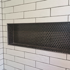 Subway Tiles and Mosaic Tiled Shower