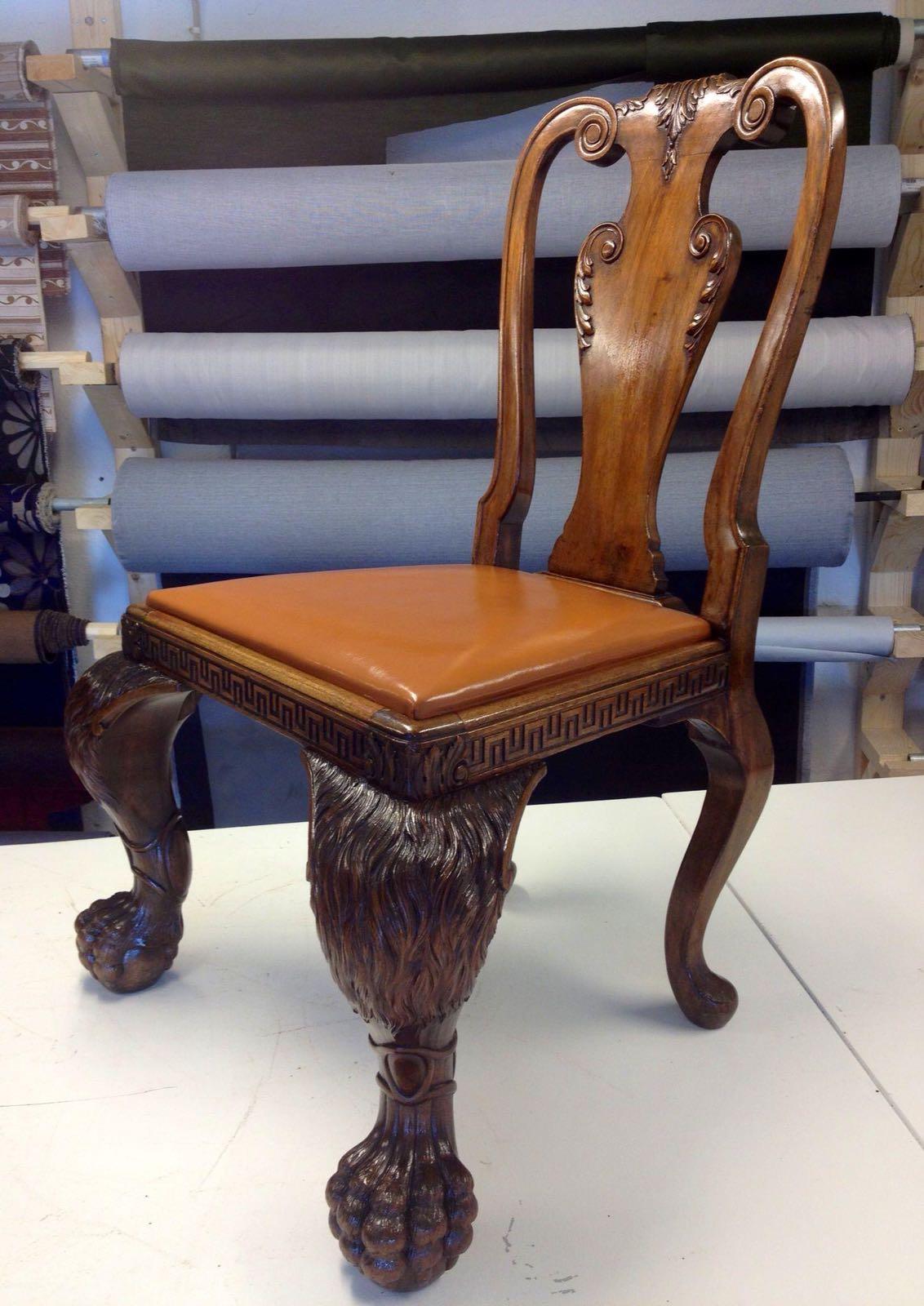 antik læder stol med læder