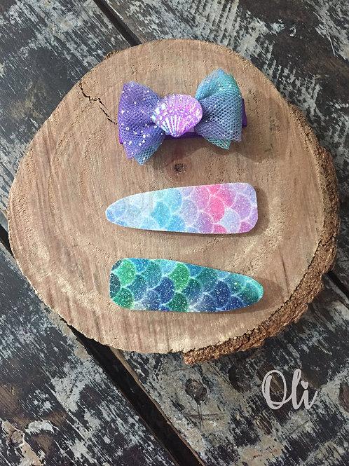 Mermaid hair clip set • Trio hair clip sereia