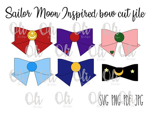 Sailor moon inspired bow SVG cut file