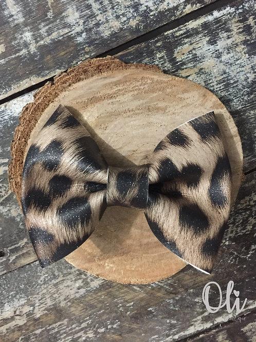 Leopard print leatherette Lia bow • Laço Lia lonita de onça
