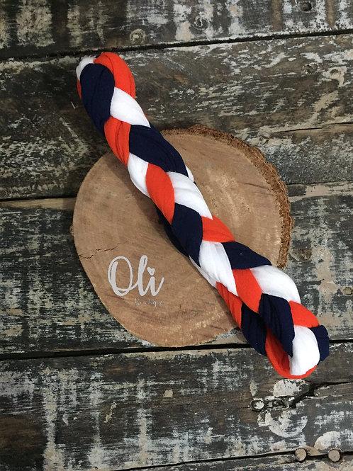 Tricolour plaited headband •  Faixa trançada tricolor