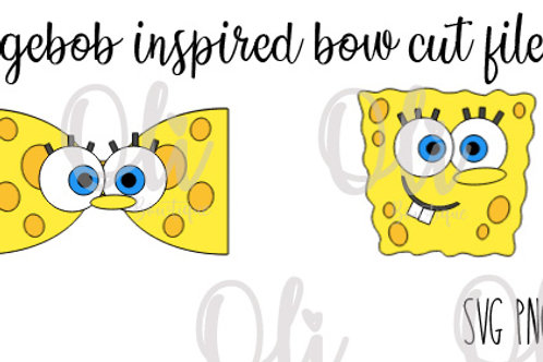 Spongebob inspired bow SVG cut file