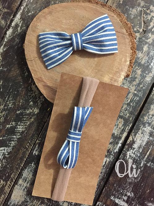 Printed denim bow set • Kit laço jeans estampados