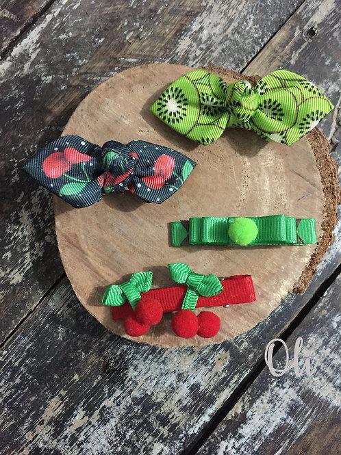 Fruit hair bow and clip (pair) • Par laço e hair clip frutas