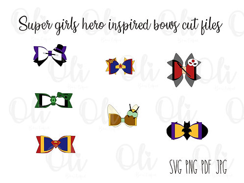 Superhero girls inspired bow template SVG cut file